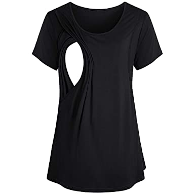 6e6254ede202d Women Maternity Clothes Short Sleeve Double Layer Ruched Nursing Breastfeeding  Tops Pregnancy Shirts (S,