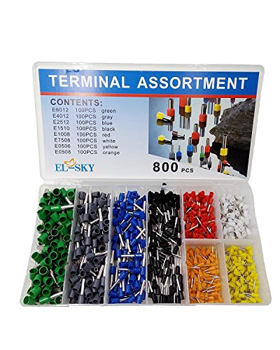 EL-SKY 800pcs Assortment Ferrule Wire Copper Crimp Connector, Wire Terminals Kit, Wire Connector Kit, Insulated Cord Pin End Terminal AWG 22-10 ()