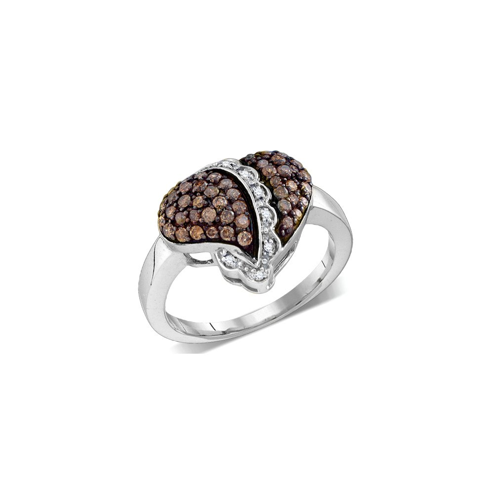 10kt White Gold Womens Round Cognac-brown Colored Diamond Heart Love Ring 5/8 Cttw (I2-I3 clarity; Brown color)