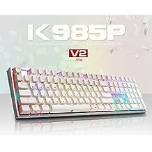 ABKO K985P V2 45g Capacitance Non-Contact Switch LED (16.8M RGB Color) Keyboard Nkey-Rollover, Stabilizer, Waterproof, Cherry MX Profile, PBT KeyCap (108 Keys English/Korean Layout)