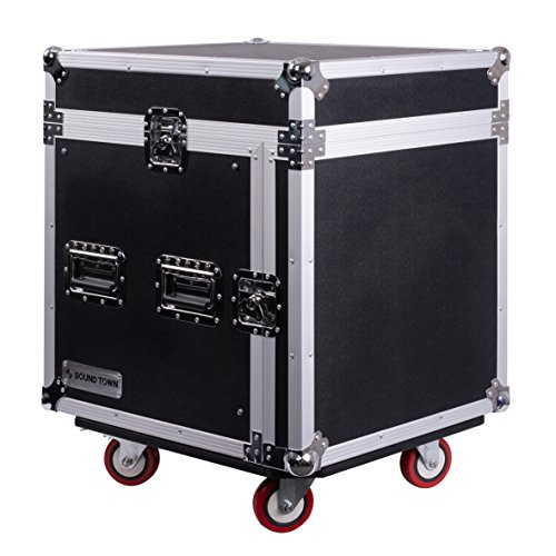 Sound Town 10-Space PA/DJ Pro Audio Rack/Road Case with Slant Mixer Top (STMR-10UW)
