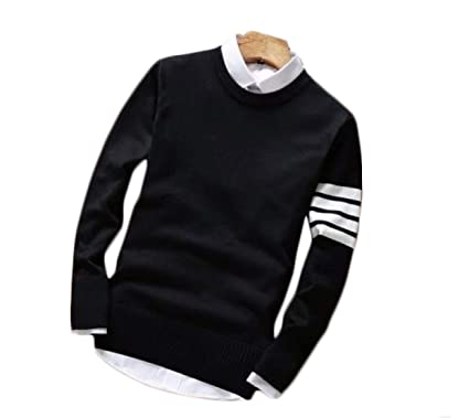 62e4e2f97 Dfine Men's Cotton O-Neck Sweatshirt T-Shirt (with Attached Collar ...