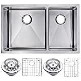 Water Creation SSSG-UD-3220A 33' X 20' 15 mm Corner Radius 50/50 Double Bowl Stainless Steel Undermount Kitchen Sink with Drain and Strainers
