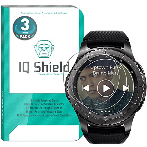 IQ Shield Glass Screen Protector Compatible with Samsung Gear S3 (Frontier, Classic)(3-Pack) Clear Tempered Ballistic Glass HD and Transparent Shatter-Proof Shield, 99% Touch Accuracy