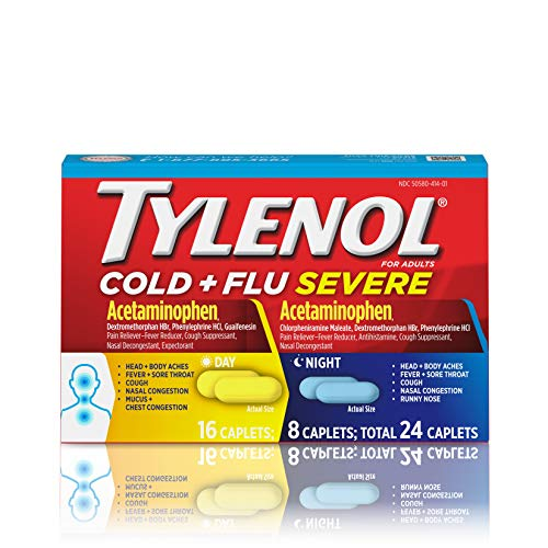 Tylenol Cold + Flu Severe Day & Night Caplets for Fever, Pain, Cough & Congestion Relief, 24 ct. ()
