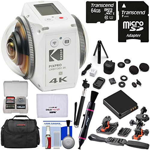 KODAK PIXPRO ORBIT360 VR 4K HD Wi-Fi Video Action Camera Camcorder - Adventure Pack + 64GB Card + Battery + Case + Helmet Mounts + Tripod + Selfie Stick Kit