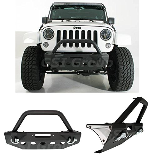 (GSI Stubby Front Bumper with +Bull Bar Hoop and Winch Mount Plate for 07-18 Jeep Wrangler JK)