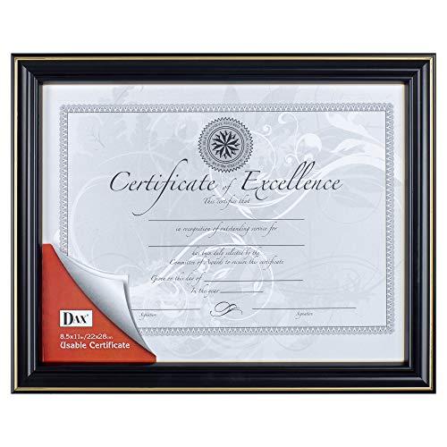 Dax 8.5x11 High Gloss Black and Gold Leaf Document Frame, Wall Display ()