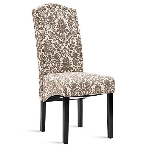 Merax Fabric Accent Chair Dining Room Chair with Solid Wood Legs, Beige, Set of 2