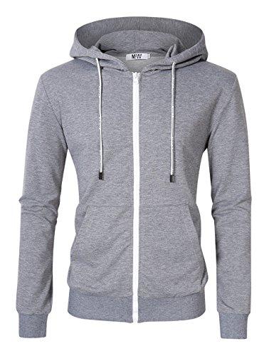 (Kuulee Men's Casual Fit Long Sleeve Lightweight Zip Up Pullover Hoodie Sweatshirt with Kanga Pocket Light Grey 2XL)