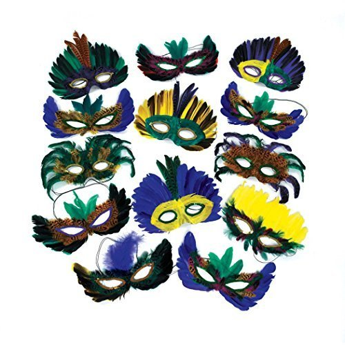 12 Feather Mardi Gras Masks Costume Party Masquerade ()