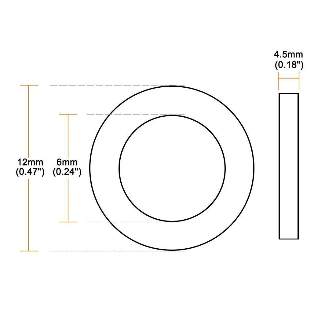 Sourcing map Lot de 20 rondelles plates en caoutchouc Diam/ètre int/érieur 12 mm Diam/ètre ext/érieur 4,5 mm /Épaisseur