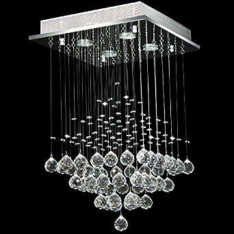 Moderne Quadratische Klare Kristall Anh?nger Droplet Deckenleuchte  Dekoration Kronleuchter L40cm W40cm H65cm F¨