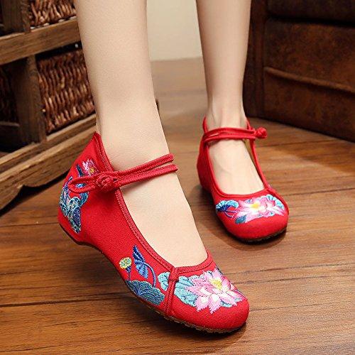 Lotus Zapatos Bordado Zapatos Zapatos Oxford Planos amp;G NGRDX Mujer Chino red Mujer Wpwv8IB7q6