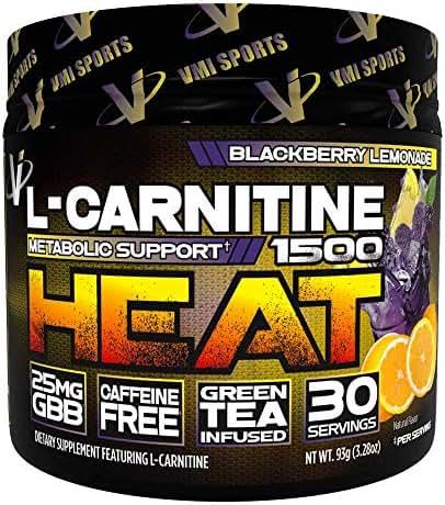 VMI Sports L-Carnitine 1500 Heat Powder, Extreme Fat Burner Thermogenic Weight Loss Support, Improve Energy, Sweat & Fat Metabolism, Caffeine Free, Fat Burner Men & Women, BlackBerry Lemonade 30sv