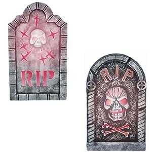 Sunstar Industries Tombstones with Skull Halloween Prop Set of 2