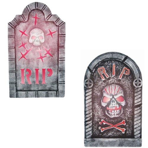 Sunstar Industries Tombstones with Skull Halloween Prop Set of 2 ()