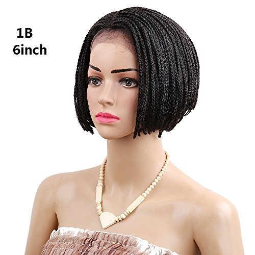 YXCHERISHAIR 6inch Short Bob Lace Front Wig with Baby Hair,Ombre Burgundy Brown Box Braid Synthetic Wigs for Black Women Heat Resistance (6 inch 1 piece, #1B) - Wig Catalogs