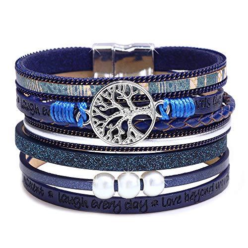 DESIMTION Bracelets for Women Leather Wrap Bracelet, Cuff Boho Braided Multilayer Wide Wristbands Wrist Magnetic Clasp Buckle Casual Pearl Bangle Bracelets for Teen Girls,Women,Boy Gift(Blue)