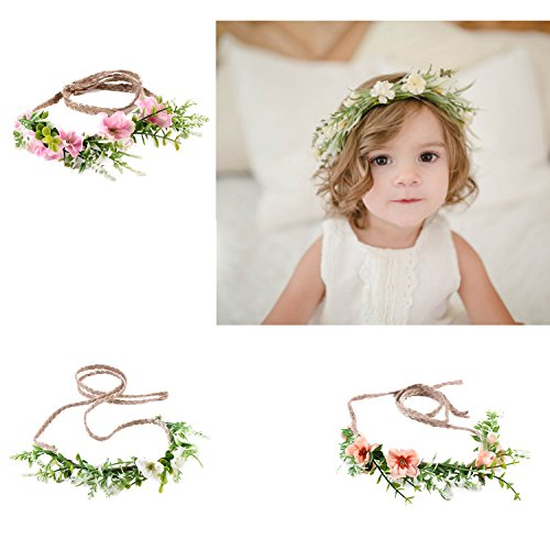 Flower Headband Baby Girl Toddler Woodland Green Leaf Floral Crown Wreath (3 Color Flower-A) (Flower Girl Headpiece)