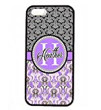 iPhone 5S Case, iPhone 5 Case, ArtsyCase Purple Grey Damask Fleur De Lis Monogram Personalized Name Phone Case - iPhone 5 and iPhone 5S (Black)