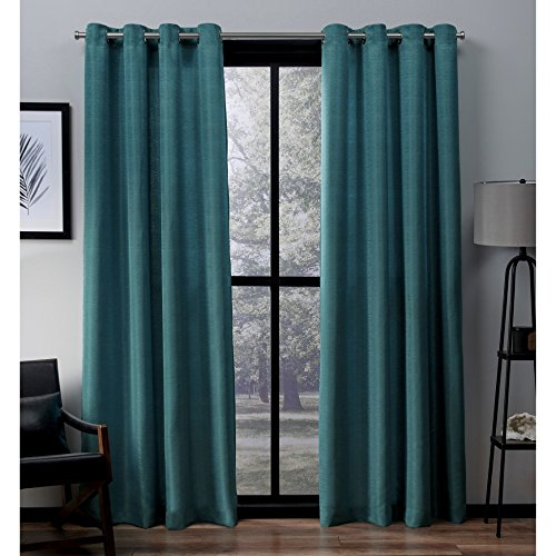 - Exclusive Home Virenze Faux Silk Window Curtain Panel Pair with Grommet Top 54x96 Teal 2 Piece