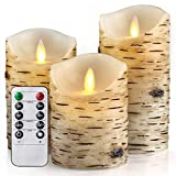HEIOKEY Flameless Candle Set of 3 (4'' 5'' 6'') LED Flameless Candles with Birch Bark Effect Dripless Real Wax Flickering Pillar Lights Battery Operated Dancing Candles with Timer and Remote Control