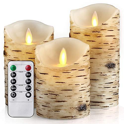 HEIOKEY Flameless Candle Set of 3 (4