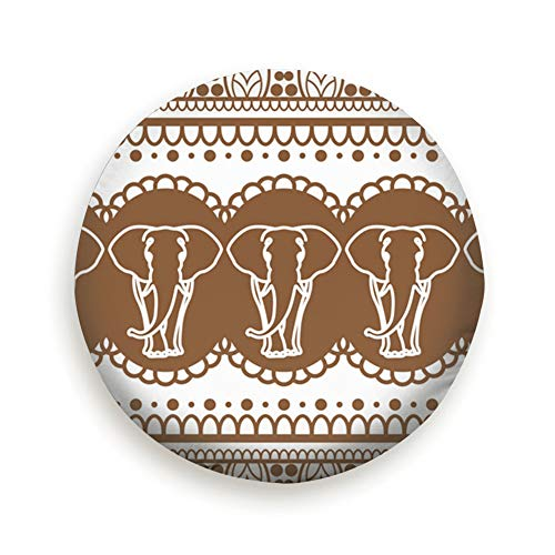DIYAB Mehndi Henna Brown Border Elephant Tire Cover Polyester Universal Spare Wheel Tire Cover Wheel Covers (14,15,16,17 Inch) 16 Inch