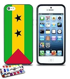 Carcasa Flexible Ultra-Slim APPLE IPHONE 5S / IPHONE SE de exclusivo motivo [Sao Tome e Principe Bandera ] [Negra] de MUZZANO  + ESTILETE y PAÑO MUZZANO REGALADOS - La Protección Antigolpes ULTIMA, ELEGANTE Y DURADERA para su APPLE IPHONE 5S / IPHONE SE