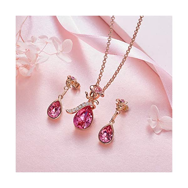 CDE Necklace Earrings Set for Women Valentine Jewelry Gifts 18K Rose Gold Plated Jewelry Sets Embellished with Crystals from Swarovski