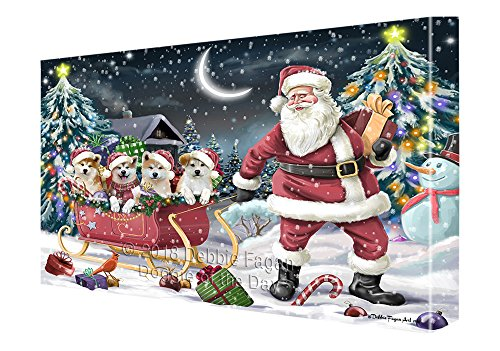 Santa Sled Dogs Christmas Happy Holidays Akitas Dog Canvas Print Wall Art Décor CVS82655 (11x14)