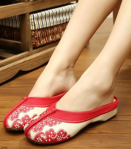 Handmade Slipper Clogs Red Icegrey Embroidered Women's gq6z5z