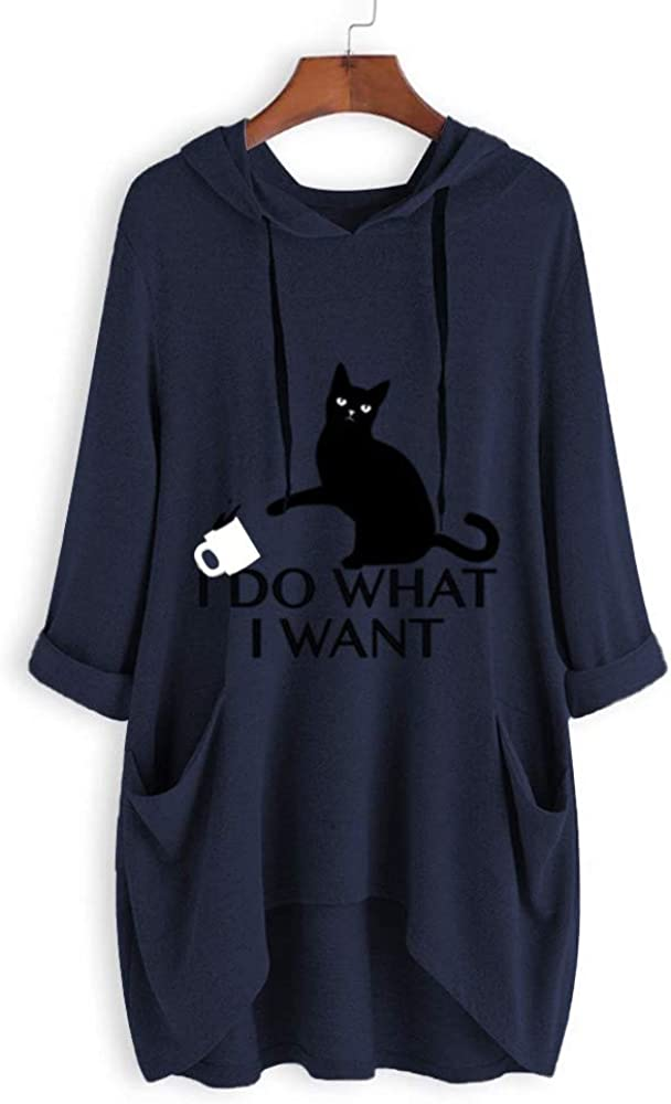 iHENGH 2019 Sweat Femme No/ël Saint Valentin Cadeau Petite Amie Automne Hiver Mignon /à Capuche /à Manches Longues Cat Casual Sweat-Shirt T-Shirts