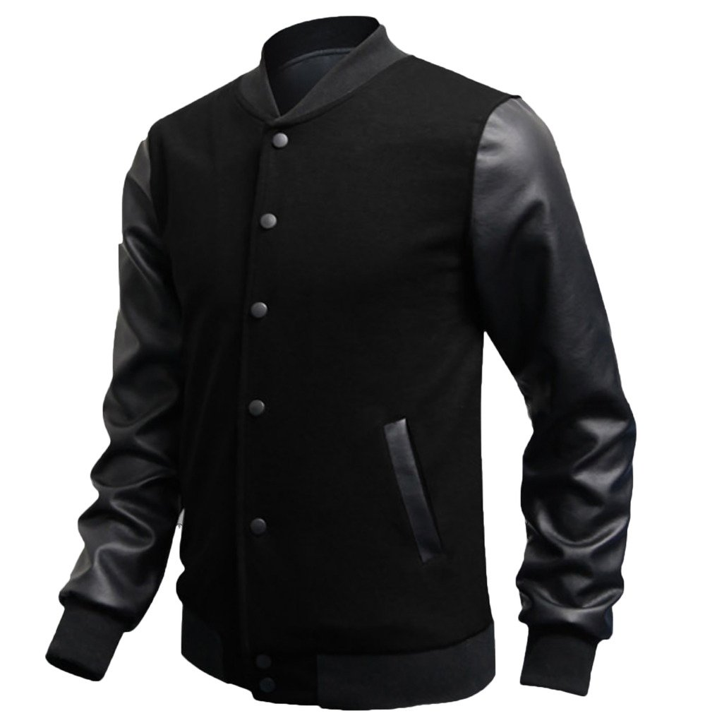 Elonglin Mens Casual Sport Bomber Jacket Faux Leather Long Sleeves Black US S (Asian L)