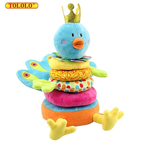 TOLOLO Prince Peacock Ring Building Blocks Early Education Toy Doll for 0-24 Months (Peacock Baby)