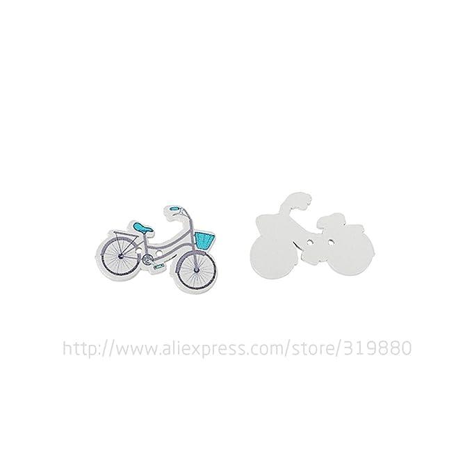 HDTTCX - Botones de madera para manualidades - Botones de madera para costura - Botones de costura para bicicleta Scrapbooking Color al azar Dos agujeros ...