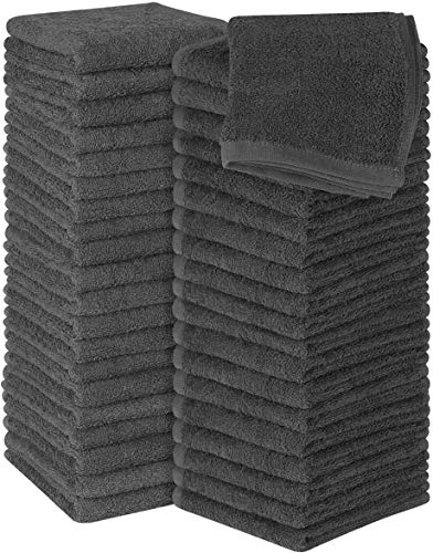 Utopia Towels Cotton Grey Washcloths Set - 100% Ring Spun Cotton, Premium Quality Flannel Face Cloths, Highly Absorbent and Soft Feel Fingertip Towels (Pack of 60)