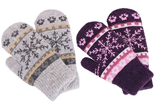 Womens Mittens Winter Fair Isle Knit Sherpa Lined Mittens,2 Pairs,L Grey/Purple