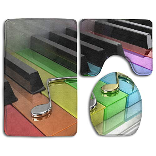 Piano Digital Image Bathroom Rug Sets 3 Piece Non-Slip Floor Mat Contour Rug Toilet Lip Cover
