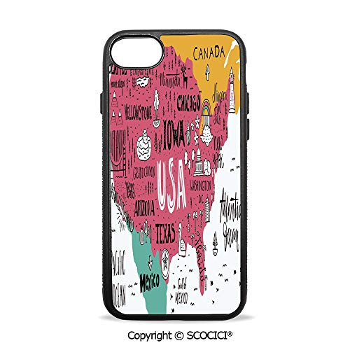 SCOCICI Non-Slip Drop Protection Smart Cell Phone Case American Cities Calligraphy on Plan Arizona New York Chicago Cartoon Compatible with iPhone 8 (Best Cell Phone Plans Chicago)