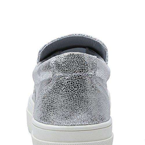 Tiosebon Donna Alta Piattaforma Mocassini Scarpe Paillettes Moda Appartamenti Slip On Sneakers 6305 Argenteo
