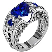 Rings,AutumnFall New Womens Silver Natural Ruby Gemstones Birthstone Bride Wedding Engagement Heart Alloy Ring (Size 6, Blue)
