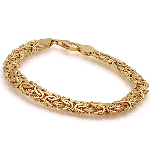 Stauer Women's Aria 14K Yellow Gold Italian Byzantine Bracelet (7.5 Inches)