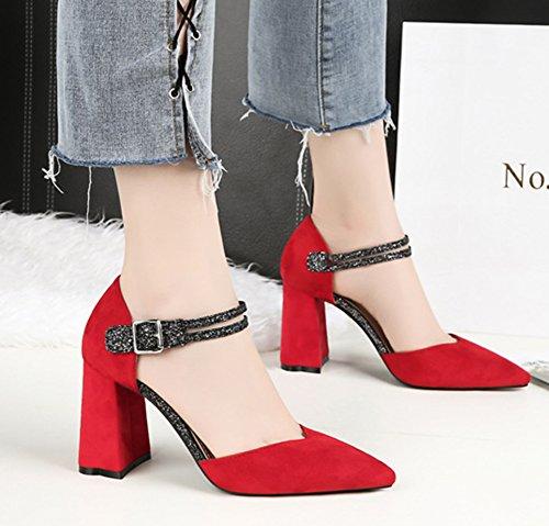 Easemax Femme Brillant Chaussure de Bureau Sandales Club Escarpins Rouge oqax3