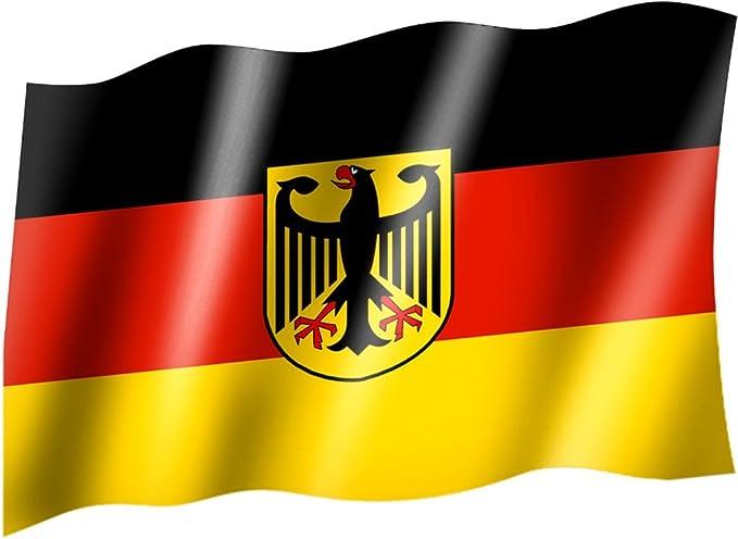Wuerfel24 Bandera/Bandera Alemania con Escudo/águila (Estado/País Bandera/ Bandera con Ojales (150 x 90 cm: Sportfanshop24: Amazon.es: Coche y moto