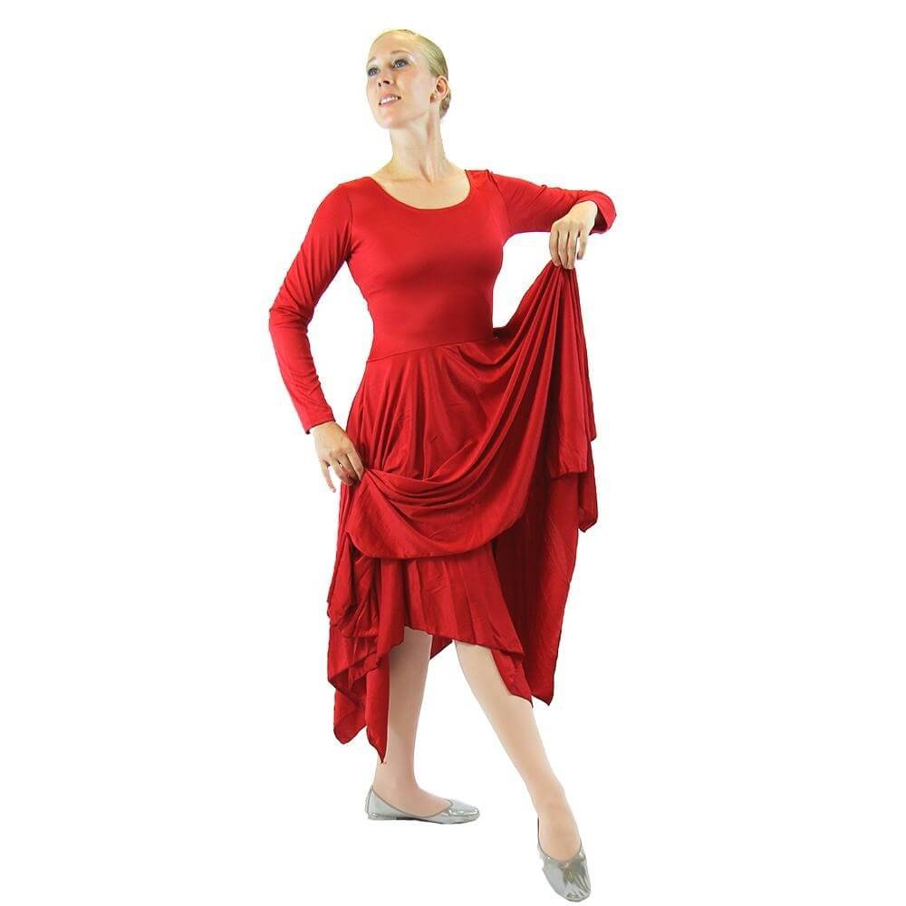 Danzcue Womens Celebration of Spirit Long Sleeve Dance Dress, Scarlet, L-XL by Danzcue
