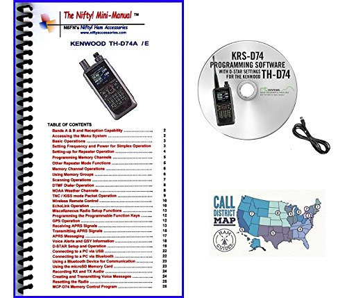 Kenwood TH-D74A Digital Tri-Band HT Accessory Bundle - Includes RT Systems Programming Software/Cable Kit, Nifty! Mini-Manual and Ham Guides TM Quick Reference Card by GigaParts