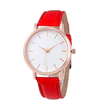 Xinantime Relojes Pulsera Mujer,Xinan Cuero PU Acero Inoxidable Analógico Cuarzo Reloj (Rojo): Amazon.es: Deportes y aire libre