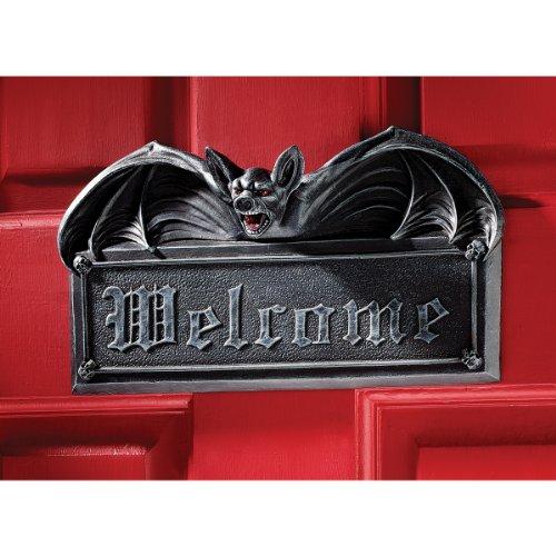 Welcome Sign - Vampire Bat Welcome Wall Sculpture - Bat Figure - Halloween Bats